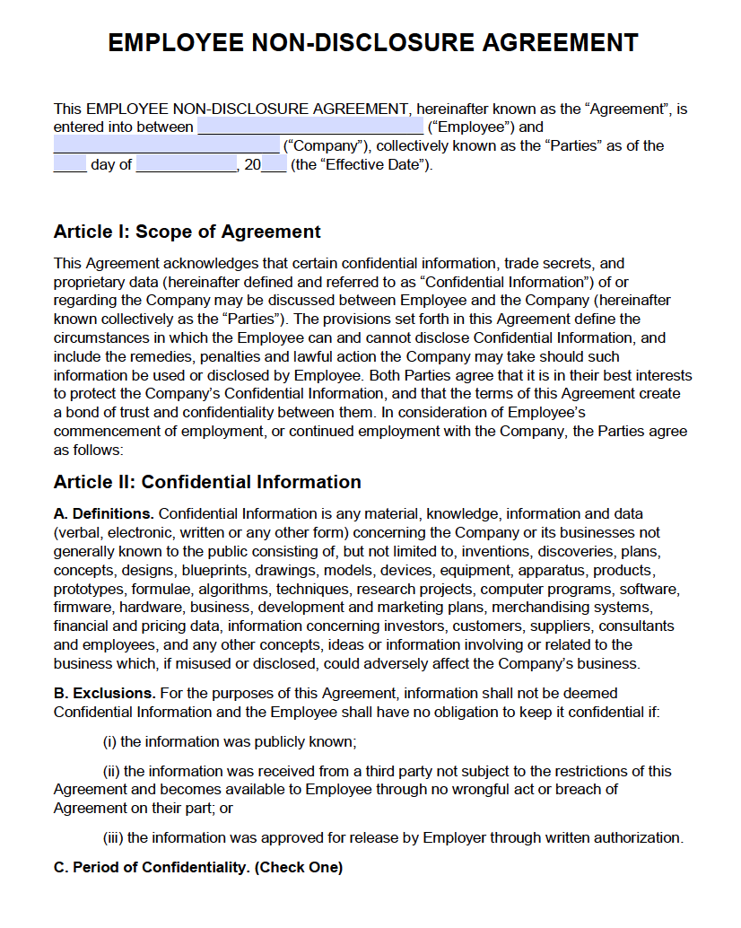 Free Employee Non Disclosure Agreement Nda Pdf Word Docx