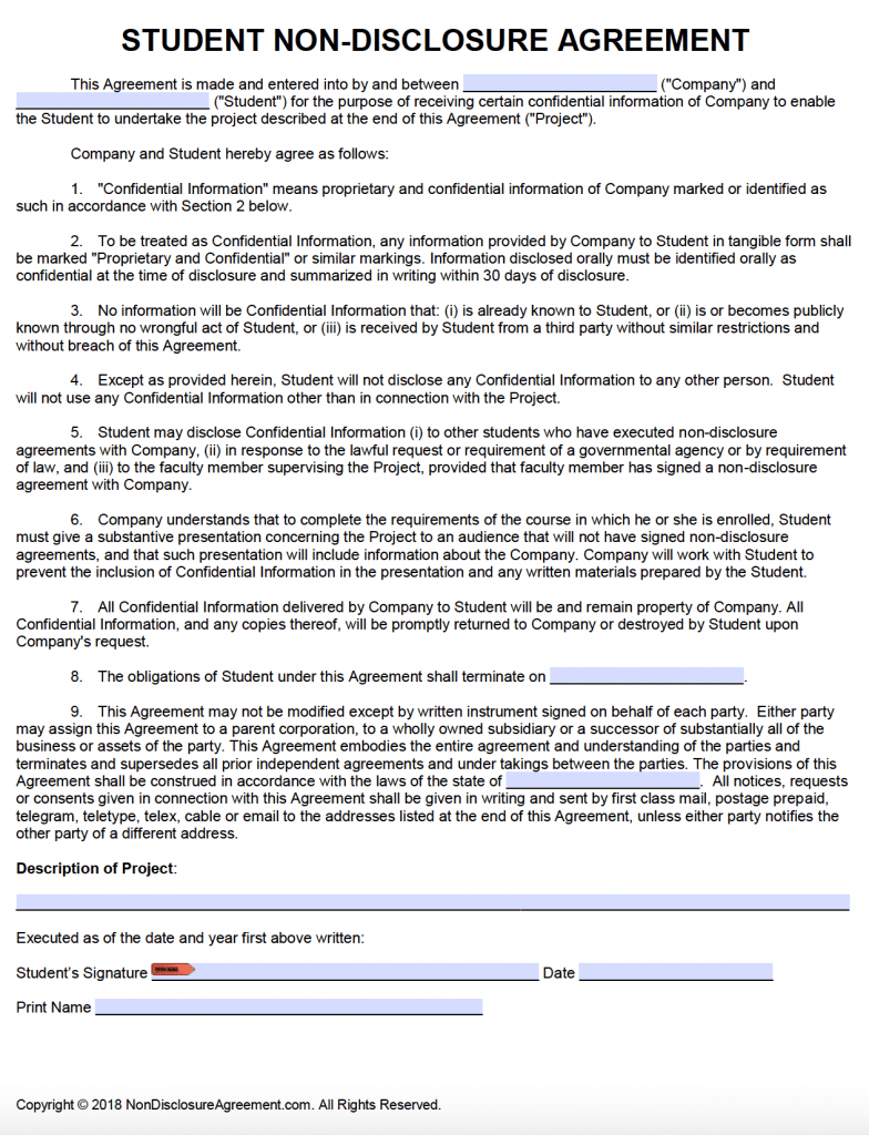 Free Student Non-Disclosure Agreement (NDA) | PDF | Word ( docx)