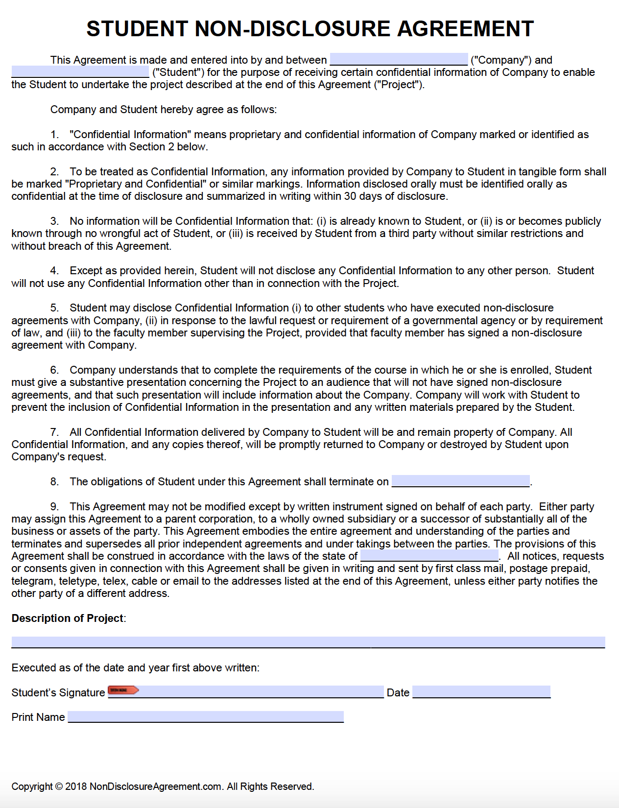Free Student Non Disclosure Agreement Nda Pdf Word Cx