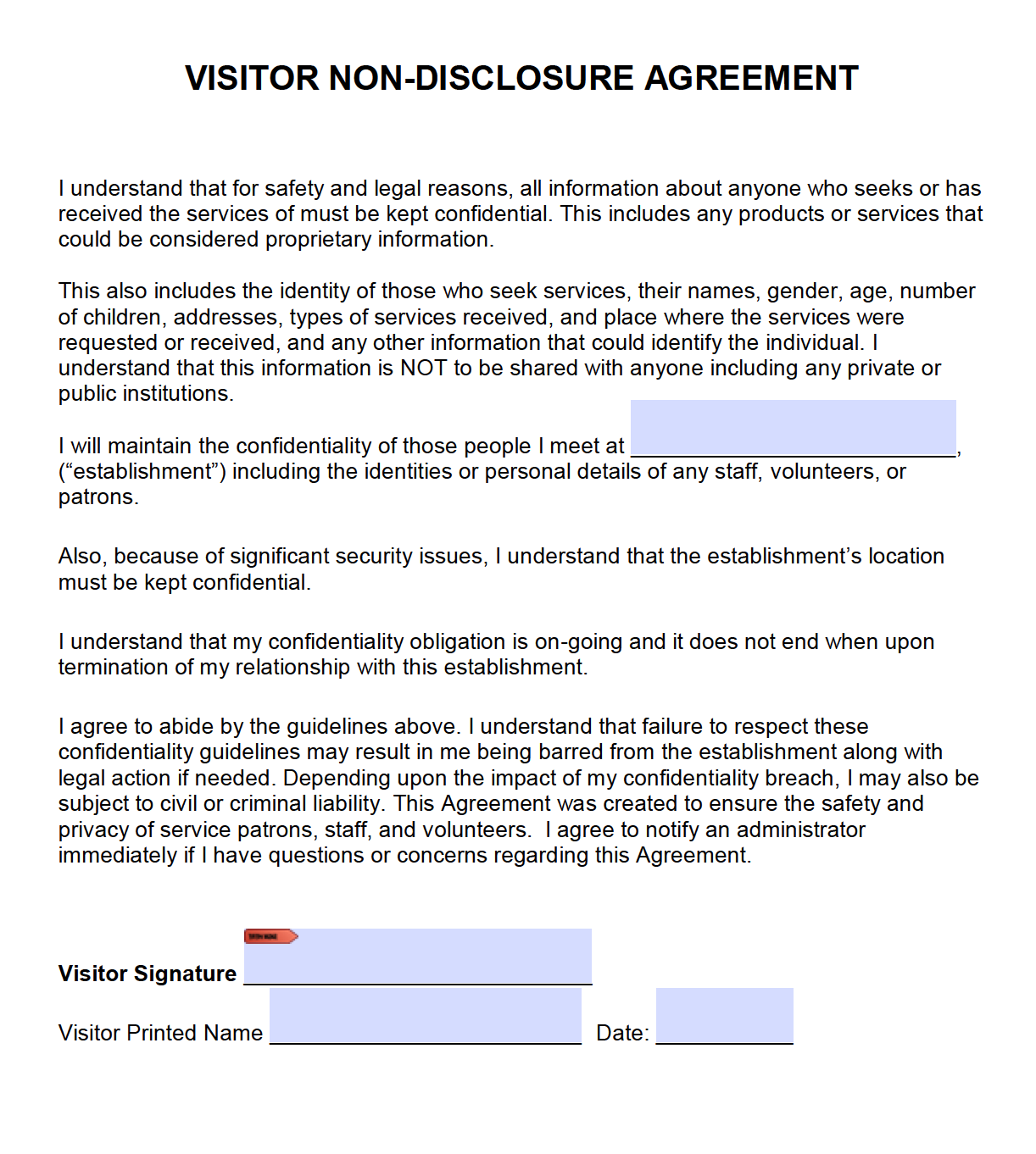 Free Visitor Non Disclosure Agreement Nda Pdf Word Cx