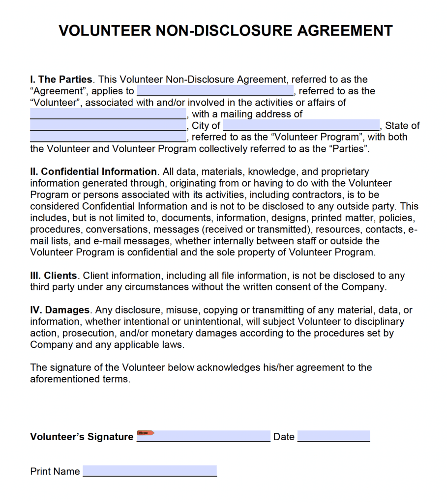 Free Volunteer Non Disclosure Agreement Nda Pdf Word Cx