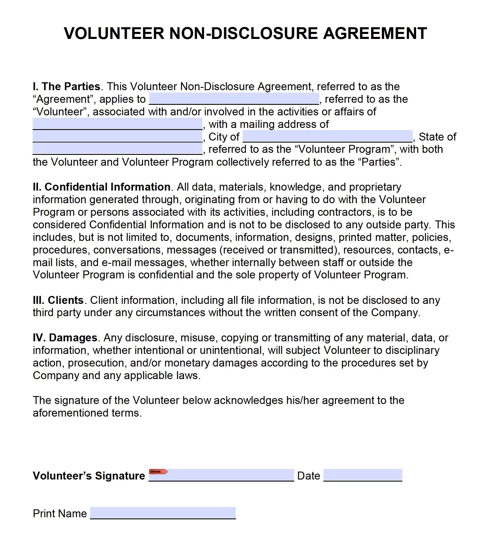 Free Volunteer Non Disclosure Agreement Nda Pdf Word Cx