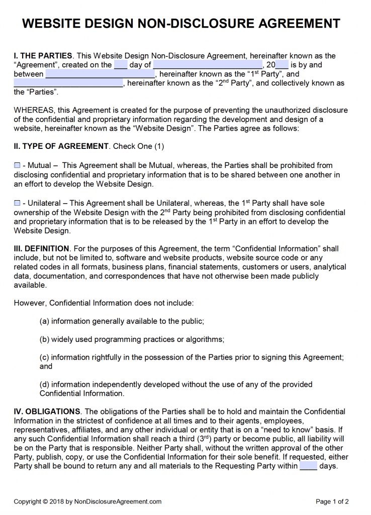 Non Disclosure Agreement Nda Template Sample