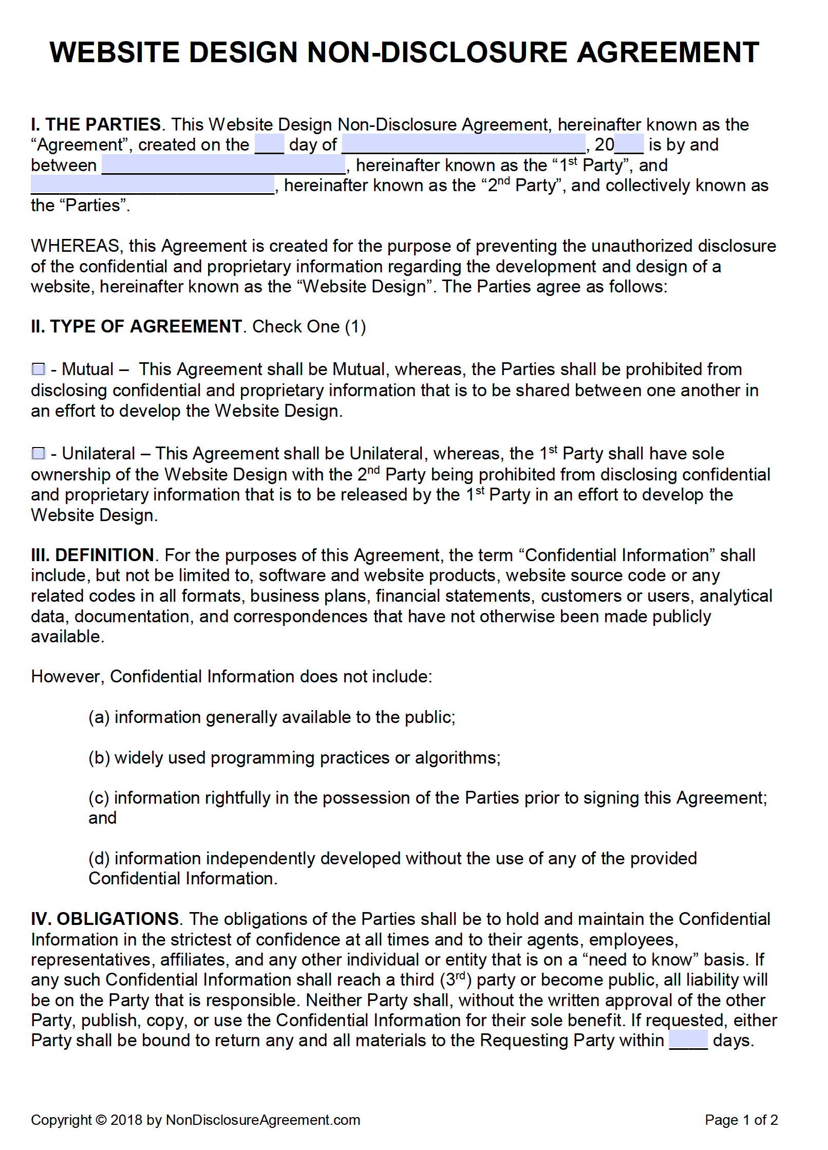 Free Website Design NonDisclosure Agreement NDA PDF Word Docx - One page nda template